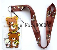Wholesale New ID Badge Holder kawaii Squishy Logo Neck Lanyards Key Chain Phone Strap Chocolates Cartoon Mobile Charms L1389