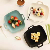 Wholesale Japanese Ears Frosted Matte Ceramic Plate Salad Baked Pasta Dish Creative Cake Dish Snack Tray