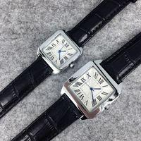 Les brunes Avis-2016 Nouveau style de mode homme / femmes en cuir montre noir / brun Lady Watch acier bracelet en chaîne de luxe en quartz haute qualité Livraison gratuite