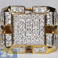 Wholesale Mens Diamond Square Signet Pinky Ring K Yellow Gold ct Certified