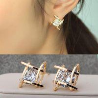 Wholesale 2016 New Arrivals Fashion Women Lovely Elegant Crystal Rhinestone Square Ear Stud Earrings Hot
