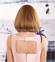 Wholesale New Bob Wig Fashion Synthetic Blonde Wig Short Hair Wig For Women With Straight Flat Bangs Peluca YL035