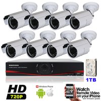 Wholesale 1MP HD Channel Surveillance P Home Bullet Security Camera DVR Kit AHD TVL Outdoor CH CCTV System Kit TB HDD