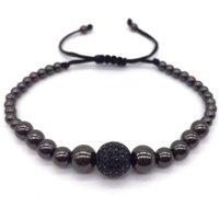 beaded chain connectors - 2016 New Anil Arjandas Diy Design Braiding Macrame Men Silver Plated Bracelets Pave Black CZ Ball Connector Charm Bracelets