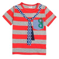 Wholesale Baby boys with short sleeves Red gray striped shirt Carry small shirt Put on the spirit of lovely