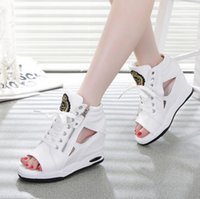 Wholesale Spring Summer Open Toe Sandals Shoes Lady Pumps High Heel Girl Wedge Sandals Platform Women Canvas Shoes Increasing Height Size