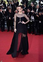 barbara green - W162 Black Long Evening Dress Sexy See Through Sweep Train Tulle Long Sleeve Formal Barbara Palvin Celebrity Dresses Red Carpet