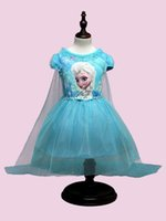 2 Color Girls Frozen Cinderella Lace paillette manteau Robe DHL enfants adorable Princesse Elsa Anna Dentelle bowknot Robe manches courtes B001