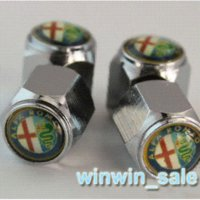 Wholesale Freeshipping set ALFA Wheel Tyre Tire Valve Dust Stems Air Caps Cover VW Emblem Wrench