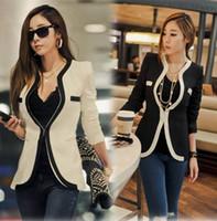 Cheap Hot Women Black White Color Long Sleeve Blazer Suits Jacket Plus Size Business Office Work Leisure Wear