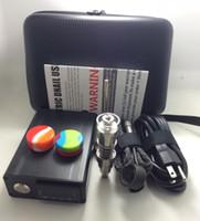 Wholesale Cheap Pens Kits - Cheap portable bag Enail quartz dab pen rig oil wax dabbing PID TC box with Ti titanium domeless coil heaer Dnail E-nail kit silicone pad