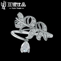 asian wedding services - 100 genuine sterling silver exquisite wild flowers female models big crystal ring manufacturers to promote services