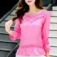 Wholesale 2016 new Korean women size loose blouse lace short sleeved t shirt female backing chiffon shirt in spring and summer