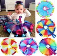 Wholesale 3pcs New Arrival Baby Girls Tutu Dress Stage Wear Children Kids Clothing Rainbow Color Skirts