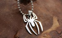 Wholesale Marvel Jewelry Super Spiderman Stainless Steel Leather Chain Pendant Necklace Spider Model