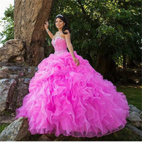 Wholesale Masquerade Sweet Ball Gown Quinceanera Dresses Hot Pink Cascading Ruffles Crystal Beaded Debutante Vestidos De Anos Prom Gowns