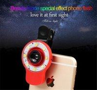 Wholesale LED Selfie Sync Flash Light RK09 Fill in Light with in lens and kinds of filters For Smartphone iOS Android Samsung Free DHL