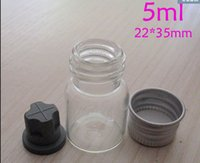 Wholesale sets ml mm opening clear glass vials mm screw aliminium caps rubber stopper Screw mouth glass bottles