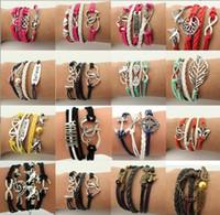 Wholesale 50pcs New Design Leather Bracelets Cross Anchor Love Peach Heart Owl Bird Cuff Vintage Charm Multilayer Bracelets