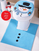Wholesale new christmas decorations for home christmas gifts Snowman Toilet Seat Cover and Rug Bathroom Set enfeites de natal