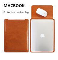 Wholesale Genuine PU Leather Bag For Tablet PC Apple Macbook Air Pro Black Dark Brown Light Brown Purple Red