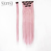 Wholesale Neitsi inch Light Pink F01 Synthetic Hair Straight Synthetic Clip in Hair Single Clip Hair Piece Ombre Synthetic Extensions