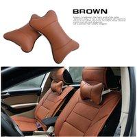 2 piezas de cuero de la PU Breathe auto del coche del asiento principal del cuello del amortiguador del resto reposacabezas almohada cojín almohada de seguridad 4 colores CIA_605