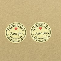 1000pcs Thank You love self-adhesive stickers kraft label sticker Diameter  3.5CM For DIY Hand Made Gift Cake Candy Boxes Craft 98d999317310
