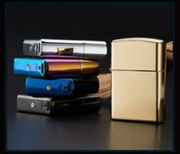 Wholesale 2015 Male gift Arc Lighters metal USB Rechargeable Flameless Electric Arc Windproof Cigar Cigarette Lighter