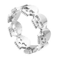 band sugar - 1pcs New Design Heart Skulls Ring Sugar Skull Skeleton Rock Roll Bone Geek Gift Halloween For Women Wrap Skulls Ring for women wedding gift