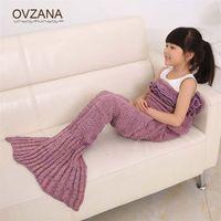 Wholesale yarn knitted Mermaid blanket handmade crochet mermaid blanket child throw bed Wrap super soft sleeping bag cm x cm BB135