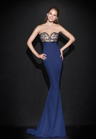 art picture woman - 2016 Mermaid Formal Evening Dresses Lace Cheap Celebrity Party Gowns Navy Royal Blue Satin Sexy Sheer Prom Occasion Dress For Women