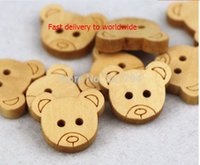 Wholesale Log color wooden buttons Cartoon Bear head hair accessories decorative butterfly children DIY