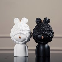arts and crafts ceramics - Pure Handmade Crafts and arts New Design Top Quality Archaize Resin Little Lolita Black and White Furnishing Articles Resin home Decoration