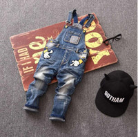 Wholesale Denim Children Pant Spring Season New Model Small and Middle baby Unisex Baby Denim Suspender Trousers