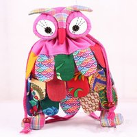Wholesale 25 China Style Colors Kids Owl Backpacks New Children Boys Girls Vintage Beam Mouth Bags Night Owl Childs School Bags