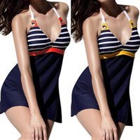 Wholesale Sexy Swimsuit Design - 2016 New Design Swimsuit Bathing Suit Fashion Girls Sexy Halter Bikini Set Strippy Bra Swimwear Women One-Piece Suits Swimdress