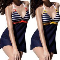bathing suit bras - 2016 New Design Swimsuit Bathing Suit Fashion Girls Sexy Halter Bikini Set Strippy Bra Swimwear Women One Piece Suits Swimdress