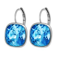 african hoop earrings - Mix Color Crystal from Swaroski Huggie Cublic Crystal Earhoops For Women Rhodium Plated Copper Earrings Valentine Day Gift to Lover