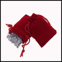 Wholesale 100Pcs red black Velour Velvet Bag Jewelry Pouch X7cm Gift Bags Jewelry Pouches Bags Jewelry Packaging