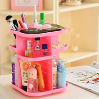 Wholesale Cosmetic organizer Box Korean Style Tabletop Rotating Large Capacity Pink Cosmetic Organizer Box Makeup Bags Cases