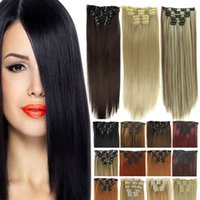 Wholesale 140g piece Synthetic Clip In Hair Extensions Clip Ins False Hair Extensions set Inch Straight Hairpiece