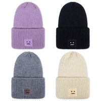beaches couples resorts - New style Acne Studios Autumn and winter square smile face pattern knitted cashmere thickening warm couple hats tide street hip hop wool cap