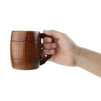 beer barrel mug - New ml oz Handmade Barrel Juice Beer Mugs Wooden Tea Cups Wood Mug Drink Durable Cup