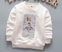 Wholesale Kids T shirts Long Sleeve Cartoon T shirts O collor Soft Cotton Baby Kids T shirts w cartoon rabbit pattern For Girls and Boys