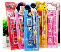 Wholesale Student stationery Set including five pencils ruler eraser sharpener for Children gifts