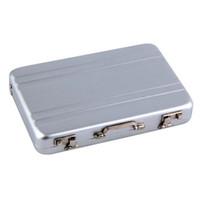 Wholesale 1pc Mini Briefcase Business Card Case ID Holders Password Silver Aluminium Credit Case Box