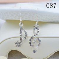 ab ladies - 100 Pieces Hot Sale Sexy Lady Diamond AB Music Symbol Pendant Earrings Freeshipping