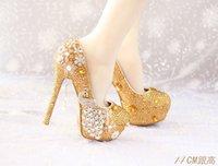 Cheap Golden Diamond Flower Bride Phoenix pearl pendant super high heels shoes tassel waterproof wedding shoes