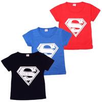 Wholesale SuperMan Cartoon Figure Children Clothes costume children s clothing t shirts wear